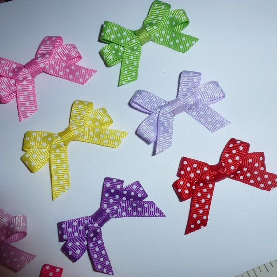 Puppy Bows ~ 10 double loop swiss dot tied bows pet hair clip or bands (fb213)