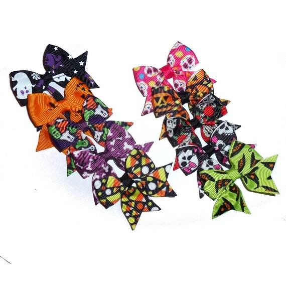 5 Halloween pumpkins sugar skulls everyday dog groomers grooming pet hair bows (fb155)