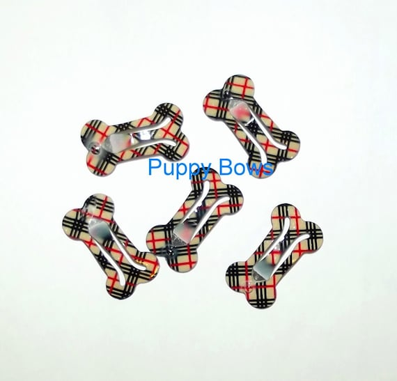 Puppy Bows ~  Pawberry brown plaid dog bone pet hair snap  barrette clips bow snaps