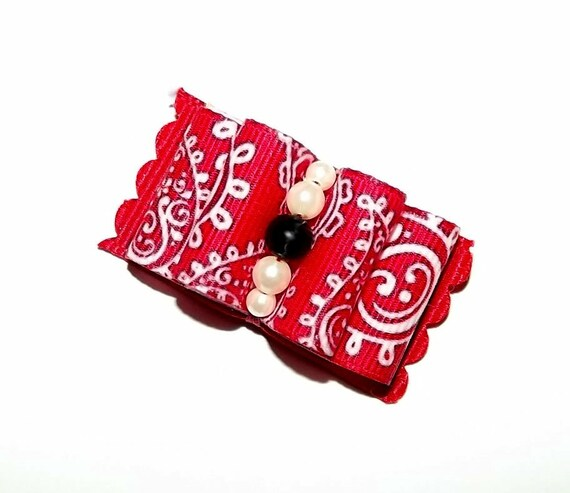 "Puppy Bows ~5/8"" double looped show bow SIX RED  pet hair bows Yorkie barrette or latex bands~USA seller"