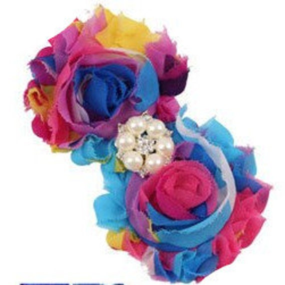 Puppy Bows ~ Dog collar slide bow large dog hair bows blue pink yellow tie dye lace and pearls ~USA seller (fb162)