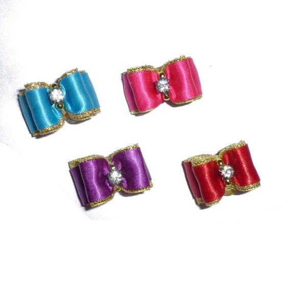"""Puppy Bows ~  Satin over gold dog show bows  5/8"""" double loop  barrette or latex bands red pink blue purple  (FB94)"""