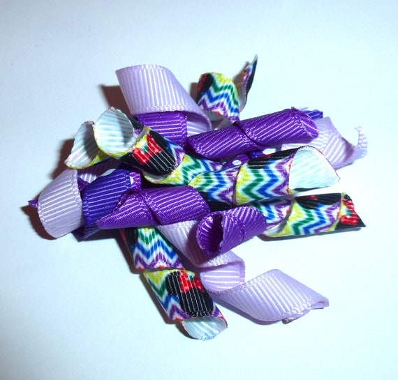 Puppy Bows ~Multi color rainbow Minnie purple Korker loop  dog bow  pet hair clip barrette or latex bands   (fb120)