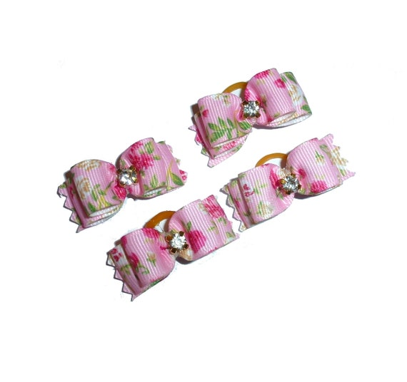 """Puppy Dog Bows ~ 5/8"""" pink rose garden  pet hair show bow barrettes or bands (FB153)"""