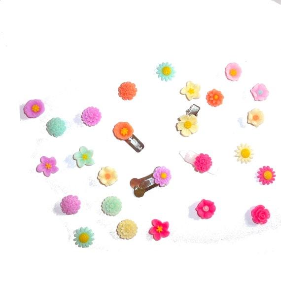 Puppy Bows set of 6 tiny flower barrettes daisy, carnation dahlia (fb6)