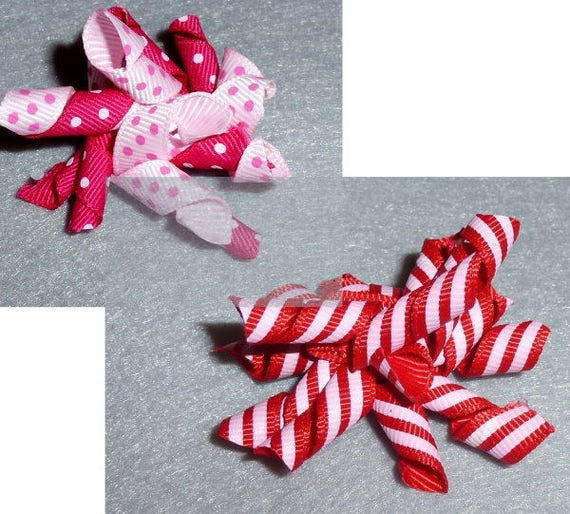 Puppy Bows ~Pink polka dot red stripe Korker loop  dog bow  pet hair clip barrette or latex bands   (fb83)