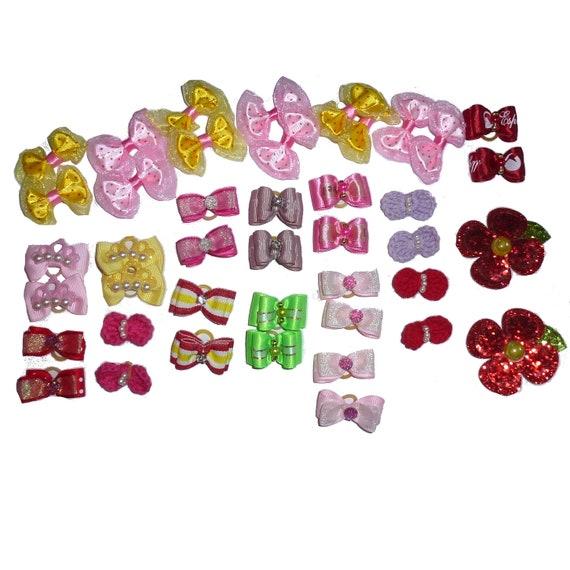 40 fancy bows pink 20 PAIRS dog grooming pet hair bows with latex band + 2 collar bows  (fb162)