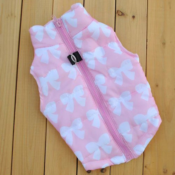 Puppy Dog Bows ~ pet puffer vest zipper back pink white bows matching topknot pet hair bow  (fb152)