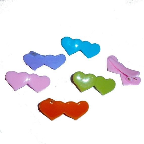 Dog hair clip double hearts SET OF 6 alligator clip plastic barrette  (fb236)