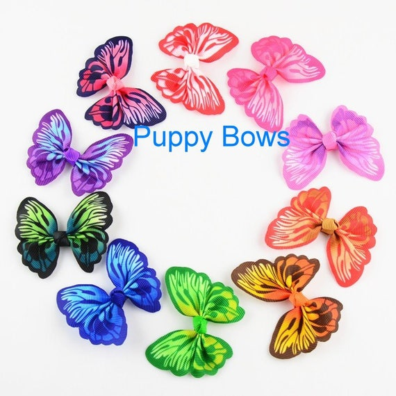 Puppy Bows ~ CLEARANCE Vibrant multicolor butterfly pet dog hair clip  ~Usa seller  (fb39)