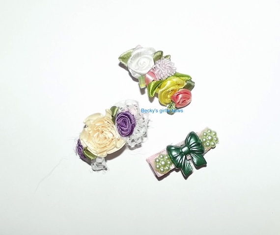 Becky's girlie bows set of 3 different hair clips flowers roses OOAK barrettes