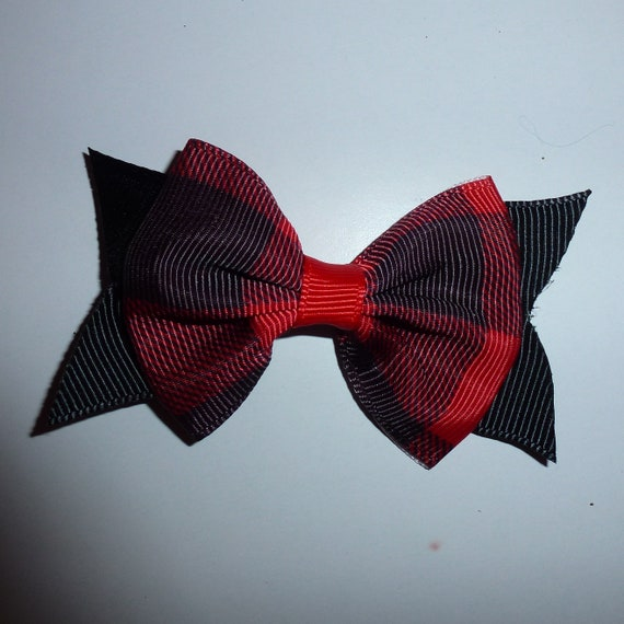 "Puppy Bows ~Red/Black plaid 3"" dog pet  hair bowknot bow bands or barrette  (fb114)~USA seller"