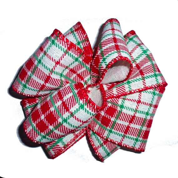 Dog bows Irene red/green plaid giant dog collar slide bow party puff flower