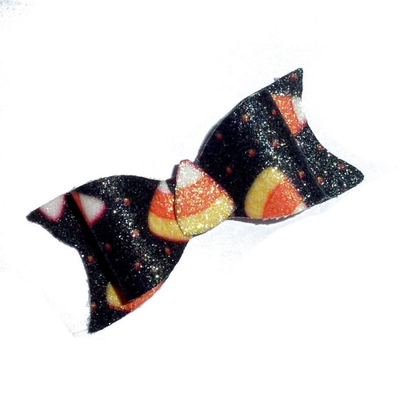 Puppy Dog Bows ~ Halloween candy corn black orange hair bow barrettes or bands