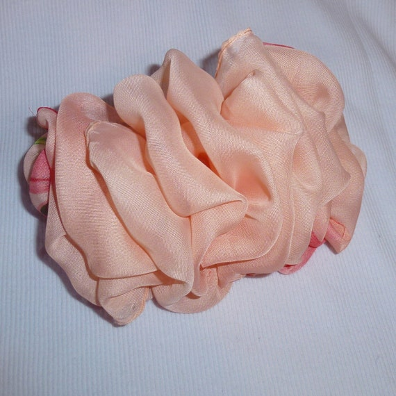 Becky Bows ~  Barrette scarf Hand crafted oversized  BIG hair bow Women or Girls  peach chiffon