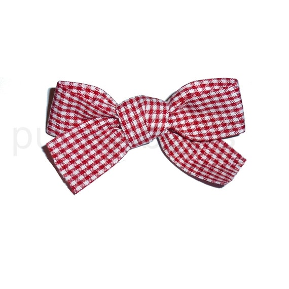 """Puppy Bows ~  Red white gingham check knot bow 3"""" big dog hair bowknot bow bands or barrette or collar slide  (fb317)"""
