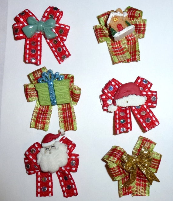 Puppy Bows ~6 green red christmas  EVERYDAY BOWS Yorkie Maltese Shih Tzu ~Usa seller (fb81)