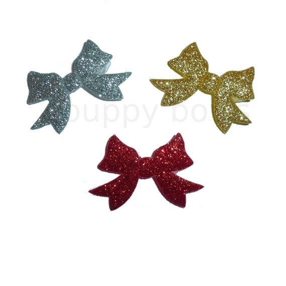 Puppy Bows ~ 3 glitter padded bowknots bows red silver gold  pet hair bow  - (fb219)