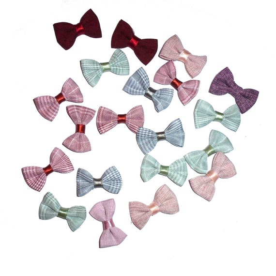 Puppy Bows ~  everyday 10 dog groomers grooming pet hair bows linen pink red colors (fb72)