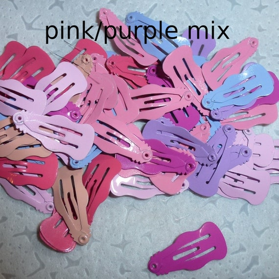 Puppy Bows ~Barrette snap clip TINY WAVES 2.5cm pink, boys mix white yellow ~Usa seller