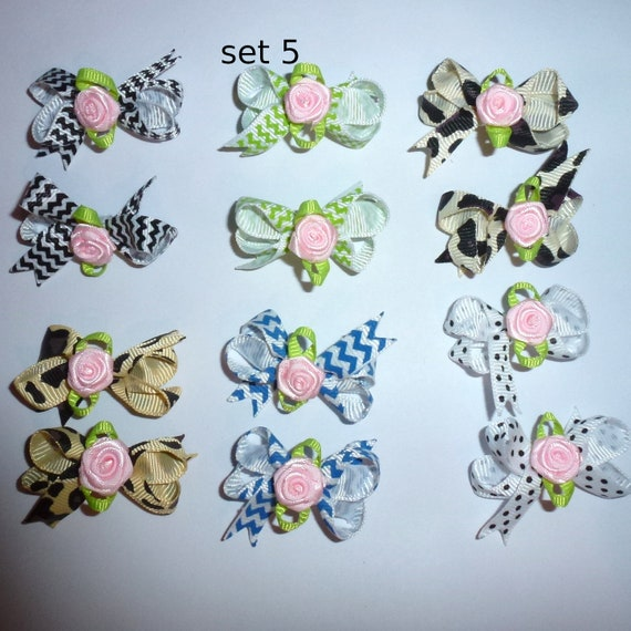 Puppy Bows ~ 12 twisted boutique rose dog bow for girls - pairs dog grooming pet hair bows - set 5