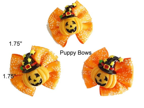Puppy Bows ~ HALLOWEEN PUMPKIN dog bow  pet hair clip barrette    (fb19)