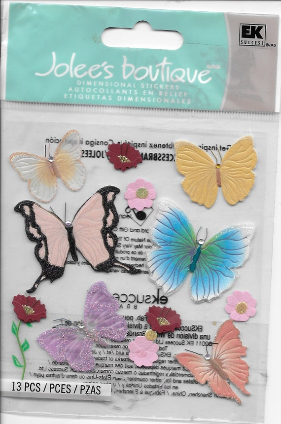 Puppy Bows ~ craft supplies scrapbook wall stickers Jolee's butterfly dimensional embellishments 1 sheet