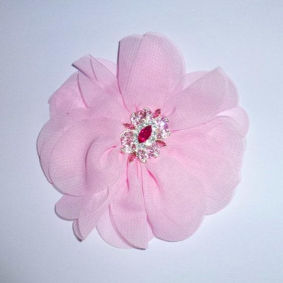 Puppy Bows ~ Dog collar slide flower bow accessory pink rhinestone ~USA seller (fb162)