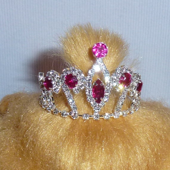 Puppy Bows ~ STUNNING 3D silver full round tiara for dogs pet hair crown beauty pageant style barrette (pink stone)