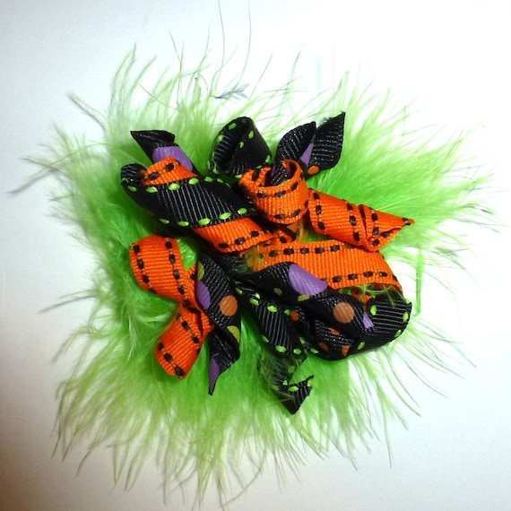 Puppy Dog Bows ~ Marabou feather boa Halloween green black orange korker hair bow barrettes or bands