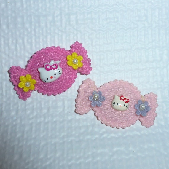 Puppy Bows craft items ~ Hello kitty candy pink dark pink flower sewn on appliques