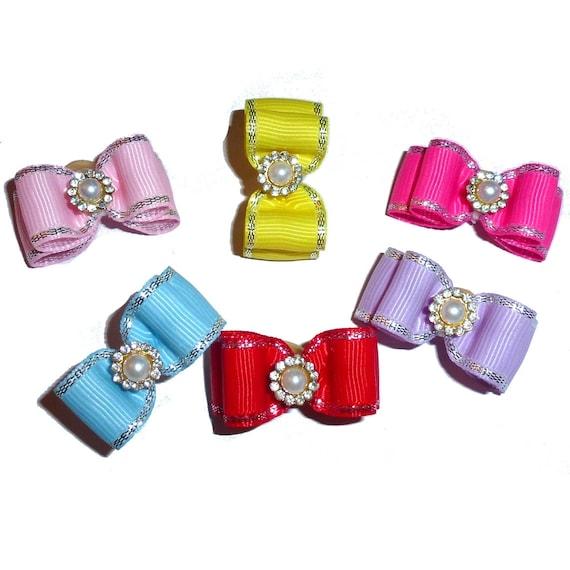 "Puppy Bows ~  Pearl rhinestone 5/8"" stiffened show pet hair bow  ~USA seller (FB256)"