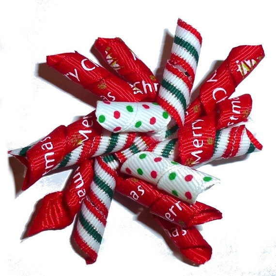 Puppy Bows ~  Christmas red green dots stripes dog bow korker hair barrette or bands