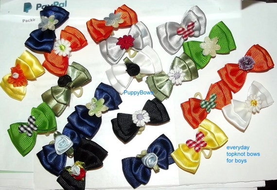 Puppy Bows ~double looped ballerina tulle topknot grooming bow Yorkie Maltese Shih Tzu ~USA seller