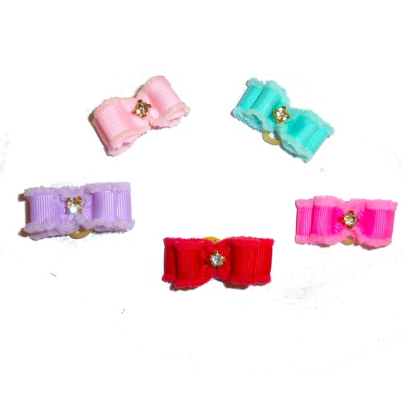 "Pet hair bows dog bow rhinestone fuzzy edge show bows 5/8""  bands or barrette (fb216)"