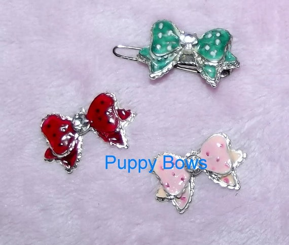 Puppy Bows ~WEE SUPER TINY little rhinestone bowknot pet hair clip barrette 7 colors!