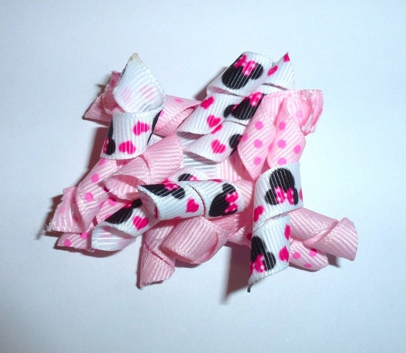 Puppy Bows ~Pink dots Minnie  Korker loop  dog bow  pet hair clip barrette or latex bands   (fb120)