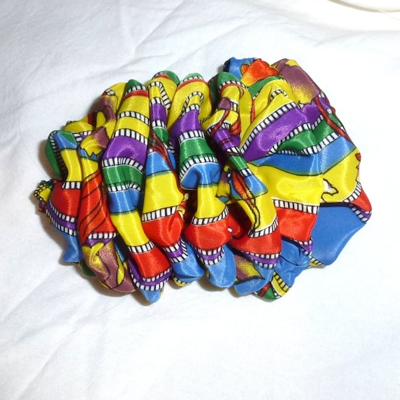 Becky Bows ~  Barrette  chiffon large vintage style scarf Hand crafted over sized  BIG hair bow multicolor