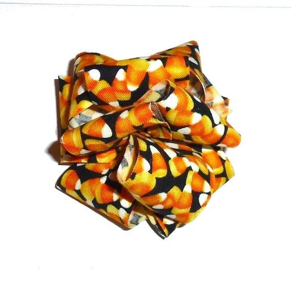 Dog bows  medium sized hair bow or collar bow HALLOWEEN candy corn black/orange/yellow dog collar slide bow party puff flower