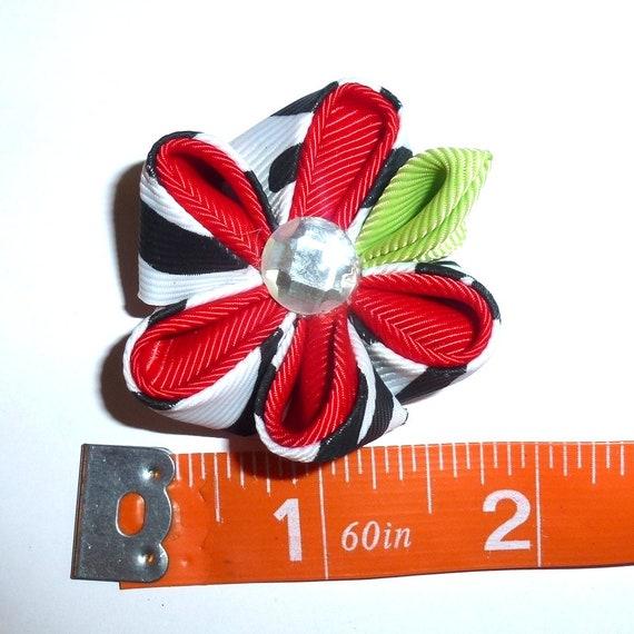 Puppy Bows ~  handmade red/black Japanese Kanzashi flower dog hair bow  (fb63)