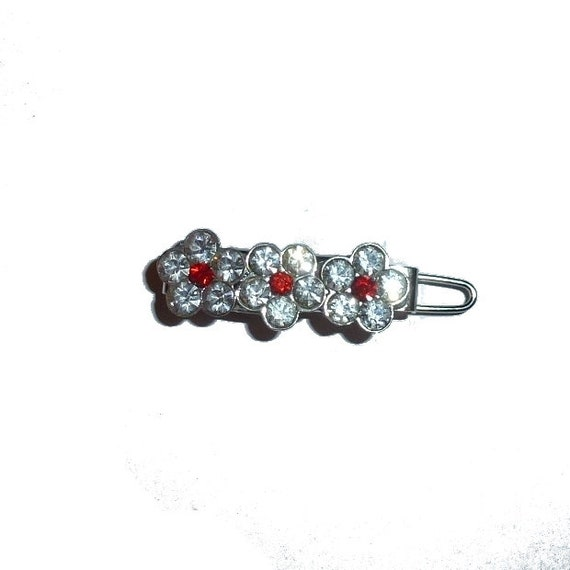 "Dog Bows  flower crystal red center rhinestone  tiny  1"" pet hair barrette clip (TB8)"