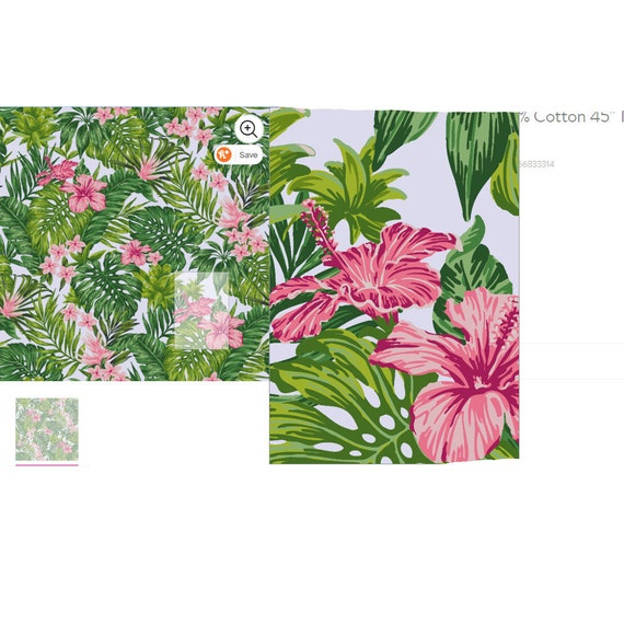 "Craft supplies ~ 100% cotton Waverly Inspirations pink tropical fabric print 42"" x 45"""
