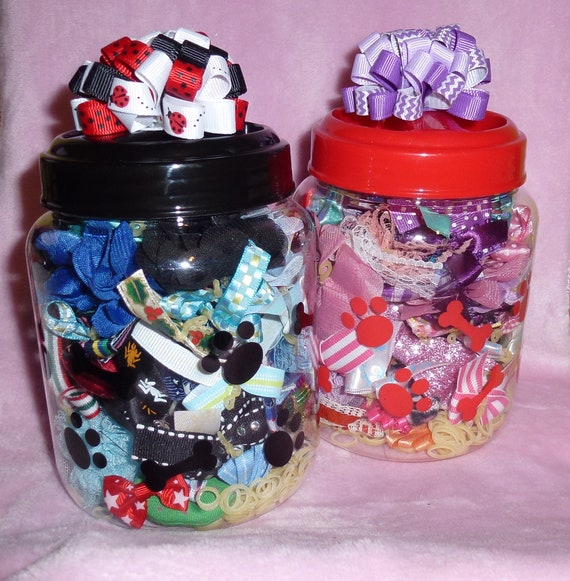Puppy Dog Bows ~ JAR OF BOWS ~ over 80 pet hair bows for boy or girl includes latex bands
