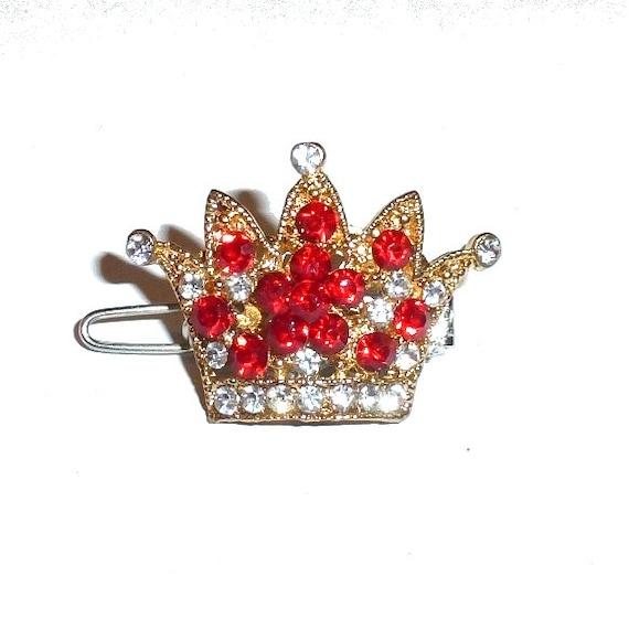 "Dog Bows  flower crystal crown RED rhinestone  tiny  1"" pet hair barrette clip (TB15)"