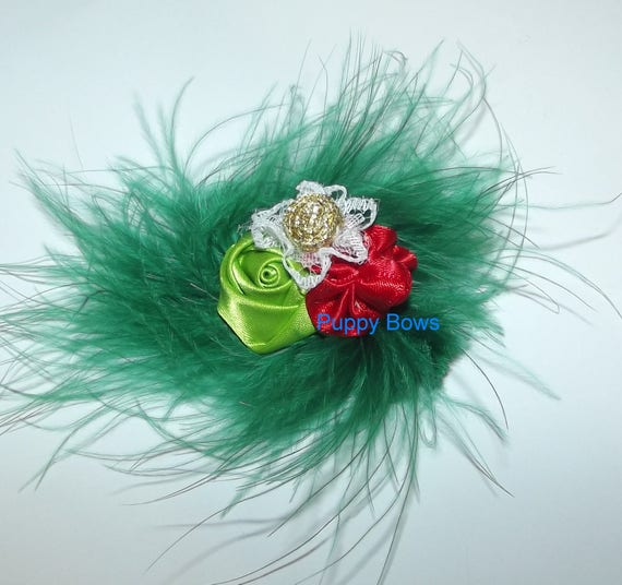 Puppy Bows ~ Christmas green red gold marabou feather dog  pet hair bow (fb54)