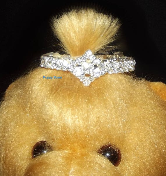 Puppy Bows ~Diamond bar rhinestone dog pet hair clip barrette gold or silver ~USA seller