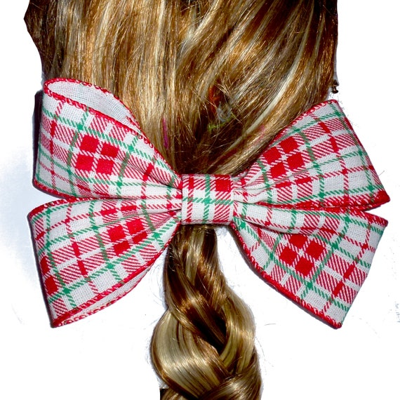 Becky Bows ~  Christmas red green tartan plaid oversized Barrette Hand crafted  BIG hair bow Women or Girls