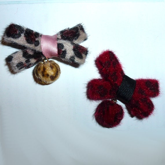 Posh Puppy Dog Bows ~ Fuzzy animal print criss cross fur balls pet hair bow  topknot barrette clip (fb122)