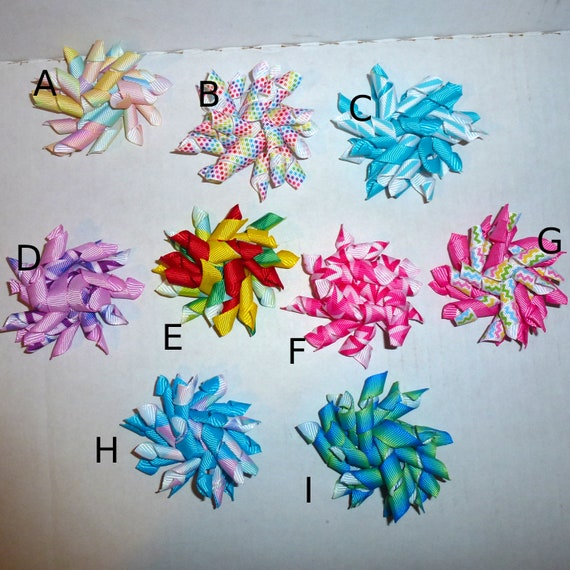 Puppy Bows ~ More Fun Korker corky spiral many colors  barrette or bands pet dog bow
