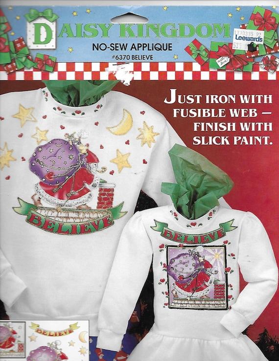 Puppy Bows ~ craft items Daisy Kingdom No Sew Applique #6370 Believe Christmas Santa Claus